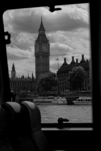 Image of the Queen Elizabeth Tower from the Thames River Bus