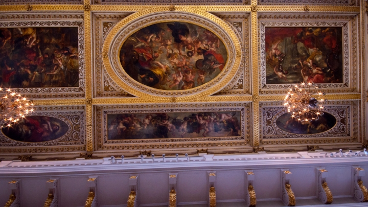 6 of the 9 Rubens ceiling panels at the Banqueting hall that have been in situ for over 300 years