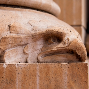 An eagle on the base of a pillar in the museum's entryway