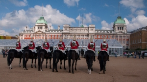 A group of Horse Guards lined up ready for the changing of the guard ceremony