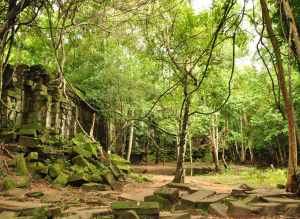 The tumble down Bang Melay temple in Cambodia
