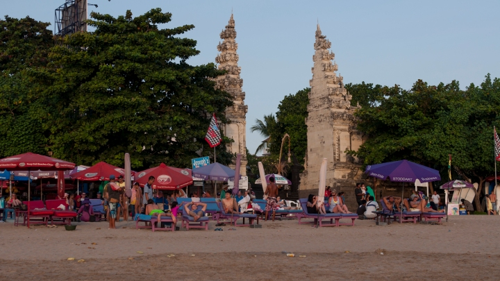 The gate to Kuta Beach with Beach bars in front of it