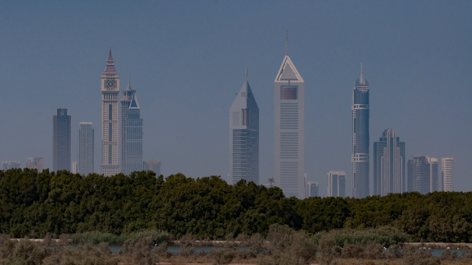 The buildings of Sheikh Zayed Road, Dubai Tower above the wetlands of Ras AL Khor